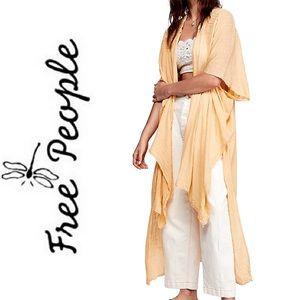 NEW FREE PEOPLE Oversized Yellow Gauze Maxi Kimono